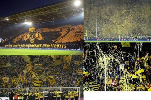 Mosaicos da torcida do Borussia